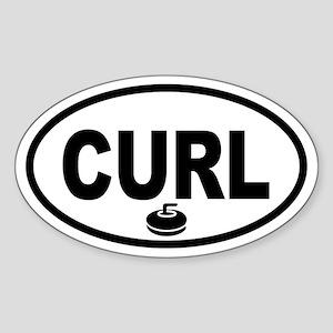 Curling Stone Oval Sticker