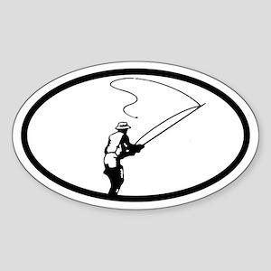 Fly Fisherman Oval Sticker