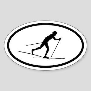 Cross Country Skier Oval Sticker