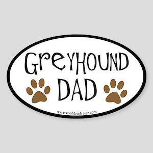Greyhound Dad Oval (black border) Oval Sticker
