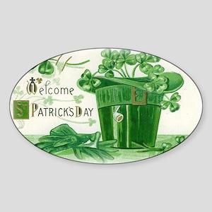 Vintage Green St Patricks Day Shamrock Hat Sticker