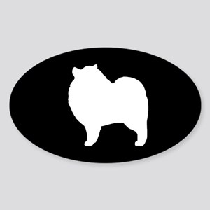 Keeshond Silhouette Sticker (Oval)