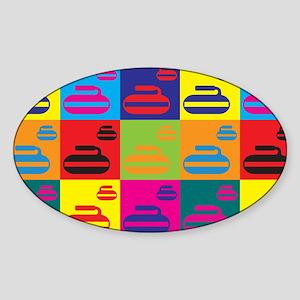 Curling Pop Art Oval Sticker