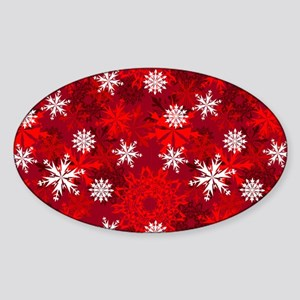 Snowflakes-Red - Sticker (oval)