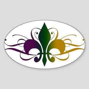 Purple Green Yellow Swirl Fleur De Lis Sticker (Ov