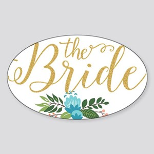 The Bride-Modern Text Design Gold Glitter Sticker