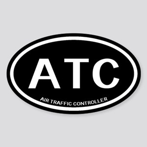 ATC: Air Traffic Controller (Black) Sticker (Oval)