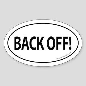 BACK OFF Auto Sticker -White (Oval)