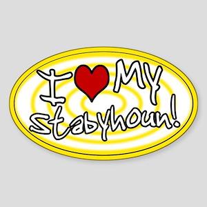 Hypno I Love My Stabyhoun Oval Sticker Ylw