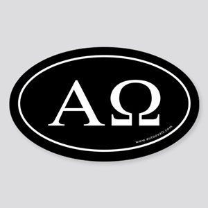 Alpha and Omega Sticker -Black (Oval)
