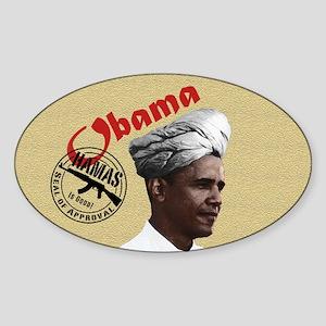 Obama w/ Hamas Seal of Approval Oval Sticker