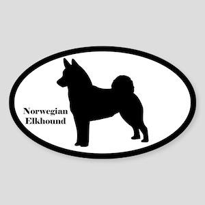Norwegian Elkhound Silhouette Oval Sticker