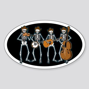 Cowboy Music Skeletons Oval Sticker