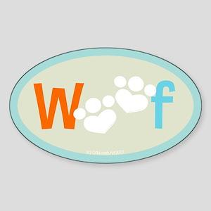 Woof Bumper Sticker (Oval)