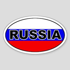 Russia Flag Oval Sticker