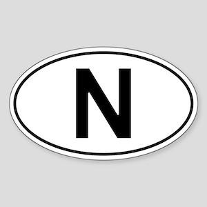 Norwegian Oval Car Sticker - N For Norway