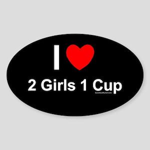 2 Girls 1 Cup Sticker (Oval)