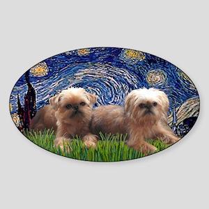 LIC-Starry Night - Two Brussels Gri Sticker (Oval)