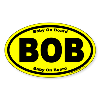 Baby On Board BOB Yellow Euro Oval Decal > Our Newest Oval Stickers ...