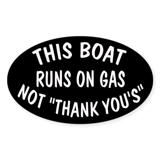 sticker 5x3 oval THIS BOAT GAS