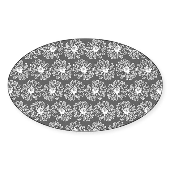 Gray and White Gerbara Daisy Pattern