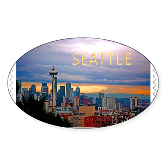 Seattle Skyline at Sunset Stamp TEXT SEATTLE