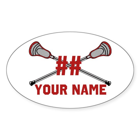 Personalized Crossed Lacrosse Sticks Red