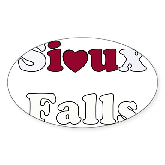 Heart Sioux Falls Sticker (Oval) By Admin_CP5208211