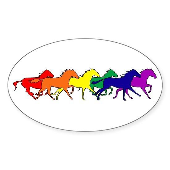 horses running rainbow