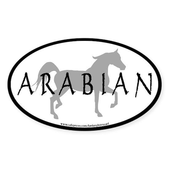 arabian horse oval text grey
