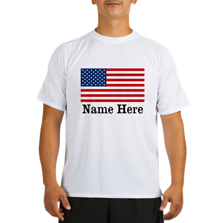 Personalized American Flag Performance Dry T-Shirt