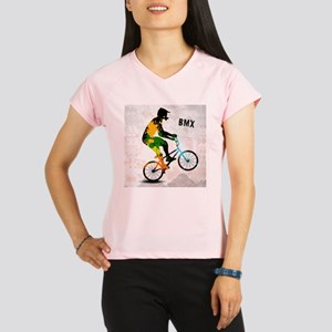BMX Rider with Abstract Pa Performance Dry T-Shirt