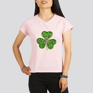 Glitter Shamrock With A Flower Performance Dry T-S
