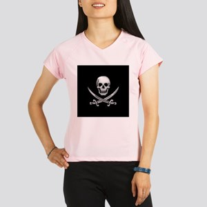 Glassy Skull and Cross Swords Performance Dry T-Sh