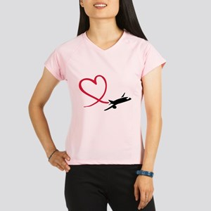 Airplane red heart Performance Dry T-Shirt