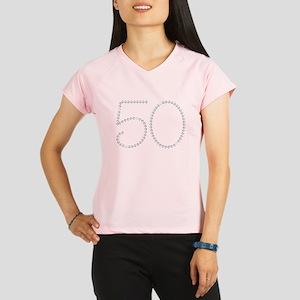 Faux Rhinestone 50th Birthday Performance Dry T-Sh