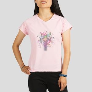 Rainbow Floral Cross Performance Dry T-Shirt