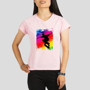 Skateboarding on Rainbow Grunge Background Perform