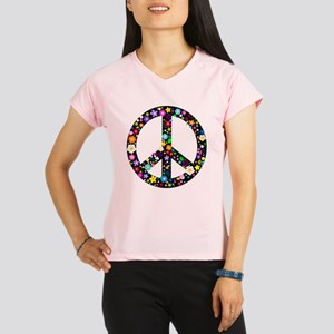 Hippie Flowery Peace Sign Performance Dry T-Shirt