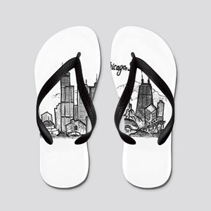 Chicago Landmarks Ink Sketch Flip Flops
