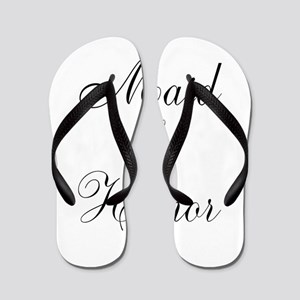 Maid of Honor Black Script Flip Flops