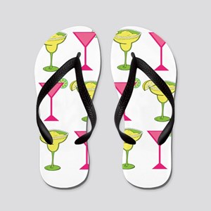 Pink and Green Cocktails Flip Flops
