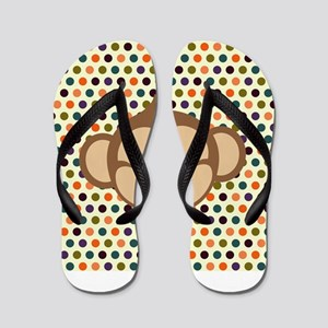 Monkey on Polka Dots Flip Flops