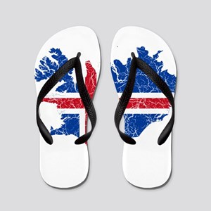 Iceland Flag And Map Flip Flops