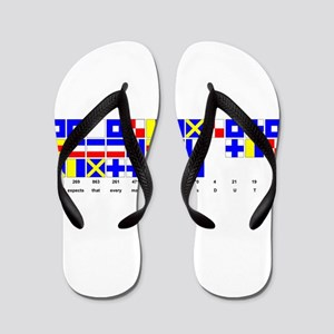 England Expects Signal Black text Flip Flops