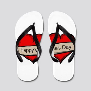Happy Valentine's Day hearts Flip Flops