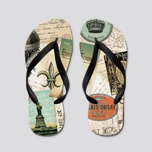 Vintage Travel collage Flip Flops