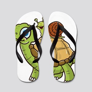 Cute & Funny Snail Riding on Turtle Flip Flops