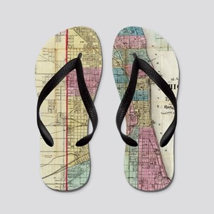 Vintage Map of Chicago (1869) Flip Flops