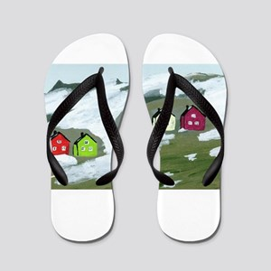 Colorful Winter Houses Flip Flops